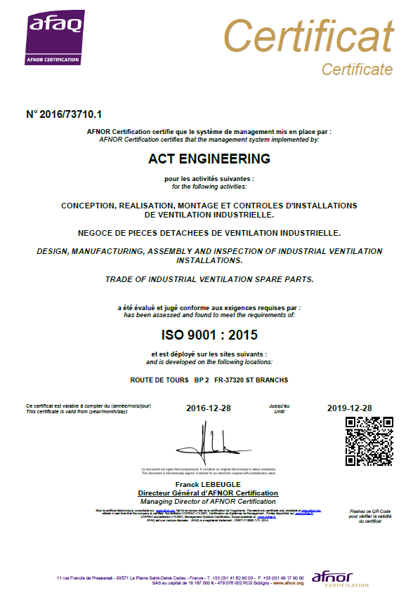 Certification ISO 9001 version 2015  pour ACT Engineering